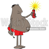 Clipart of a Cartoon Chubby Black Man in Swim Shorts, Holding a Firecracker and Match - Royalty Free Vector Illustration © djart #1552196