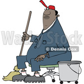 Clipart of a Cartoon Black Male Custodian Janitor Taking a Break and Sitting in a Chair with a Mop and Bucket - Royalty Free Vector Illustration © djart #1552197