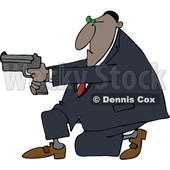 Clipart of a Cartoon Black Man Kneeling and Using a Pistol - Royalty Free Vector Illustration © djart #1555451