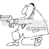Clipart of a Cartoon Lineart Black Man Kneeling and Using a Pistol - Royalty Free Vector Illustration © djart #1555452