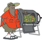 Clipart of a Cartoon Black Man Resting an Arm on His Composter Bin - Royalty Free Vector Illustration © djart #1555454