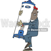Clipart of a Cartoon Black Plumber Worker Man Carrying a Water Heater - Royalty Free Vector Illustration © djart #1558733
