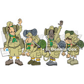Clipart of a Boy Scout Troop and Leader Waving Goodbye Before Backpacking - Royalty Free Vector Illustration © djart #1558734