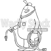 Clipart of a Cartoon Lineart Chubby Black Worker Man Holding an Air Hose - Royalty Free Vector Illustration © djart #1558735