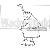 Clipart of a Cartoon Lineart Chubby Black Man Wearing Safety Goggles and Holding up a Blank Sign - Royalty Free Vector Illustration © djart #1559134