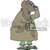 Clipart of a Cartoon Chubby Black Man in His Robe, Scratching His Head and Holding a Coffee Mug - Royalty Free Vector Illustration © djart #1559135