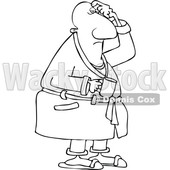 Clipart of a Cartoon Lineart Chubby Black Man in His Robe, Scratching His Head and Holding a Coffee Mug - Royalty Free Vector Illustration © djart #1559136
