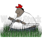 Clipart of a Cartoon Black Man Mowing in Really Tall Grass - Royalty Free Vector Illustration © djart #1559969