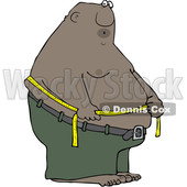 Clipart of a Cartoon Black Man Measuring His Belly Fat - Royalty Free Vector Illustration © djart #1559971