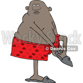 Clipart of a Cartoon Black Man Putting His Slippers on - Royalty Free Vector Illustration © djart #1560324