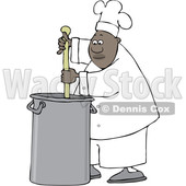 Clipart of a Cartoon Black Male Chef Stirring a Large Pot of Soup with a Spoon - Royalty Free Vector Illustration © djart #1560408