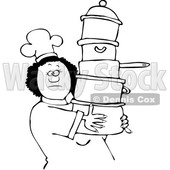 Clipart of a Lineart Black Chef Woman in a White Hat and Uniform, Carrying a Large Stack of Pots - Royalty Free Vector Illustration © djart #1560410