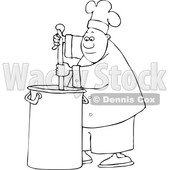 Clipart of a Cartoon Lineart Black Male Chef Stirring a Large Pot of Soup with a Spoon - Royalty Free Vector Illustration © djart #1560412