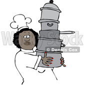 Clipart of a Happy Black Chef Woman in a White Hat and Uniform, Carrying a Large Stack of Pots - Royalty Free Vector Illustration © djart #1560413