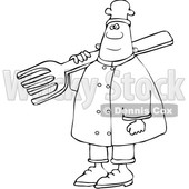 Clipart of a Lineart Black Male Chef in Carrying a Giant Fork over His Shoulder - Royalty Free Vector Illustration © djart #1560544