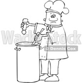 Clipart of a Lineart Black Male Chef Seasoning Soup with a Salt Shaker - Royalty Free Vector Illustration © djart #1562290