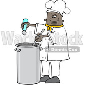 Clipart of a Black Male Chef Seasoning Soup with a Salt Shaker - Royalty Free Vector Illustration © djart #1562295
