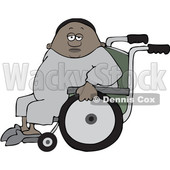 Clipart of a Cartoon Black Man in a Wheelchair - Royalty Free Vector Illustration © djart #1562915