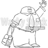 Clipart of a Lineart Traveling Black Business Man with Rolling Luggage, Waving Goodbye or Hailing a Taxi Cab - Royalty Free Vector Illustration © djart #1562920