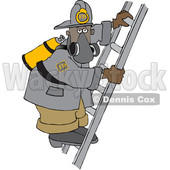 Clipart of a Black Male Fire Fighter on a Ladder - Royalty Free Vector Illustration © djart #1564064