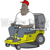 Clipart of a Cartoon Black Man Operating a Ride on Lawn Mower - Royalty Free Vector Illustration © djart #1567563