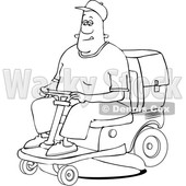 Clipart of a Cartoon Lineart Black Man Operating a Ride on Lawn Mower - Royalty Free Vector Illustration © djart #1567564