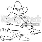 Clipart of a Cartoon Lineart Black Cowboy Putting on His Boots - Royalty Free Vector Illustration © djart #1567565
