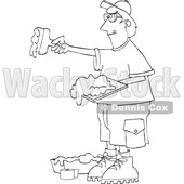 Clipart of a Lineart Drywall Installer Working - Royalty Free Vector Illustration © djart #1567807