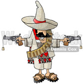 Clipart of a Mexican Bandito Holding Two Cork Guns - Royalty Free Illustration © djart #1568349