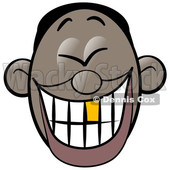 Clipart of a Cartoon Laughing Man's Face with a Good Tooth - Royalty Free Illustration © djart #1568635