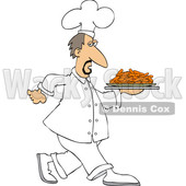 Clipart of a White Male Chef Walking with a Platter of Carrots - Royalty Free Vector Illustration © djart #1569765