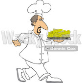 Clipart of a White Male Chef Walking with a Platter of Corn on the Cob - Royalty Free Vector Illustration © djart #1569766