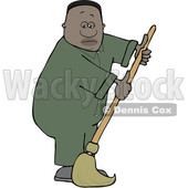 Clipart of a Cartoon Black Male Custodian Janitor Mopping - Royalty Free Vector Illustration © djart #1569825