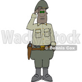 Clipart of a Black Male Military 5 Star General Saluting - Royalty Free Vector Illustration © djart #1570838