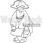 Clipart of a Cartoon Lineart Happy Black Granny Wearing Sunglasses and Carrying a Purse - Royalty Free Vector Illustration © djart #1580750