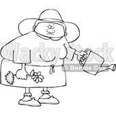 Clipart of a Cartoon Lineart Black Woman Holding a Flower Ready to Be Planted and a Watering Can - Royalty Free Vector Illustration © djart #1580752