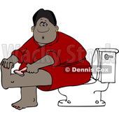 Clipart of a Cartoon Black Woman Sitting on a Toilet in a Bathroom and Shaving Her Legs - Royalty Free Vector Illustration © djart #1580833