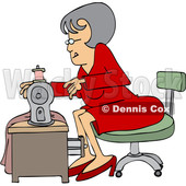 Clipart of a Cartoon Seamstress Woman Sewing a Dress - Royalty Free Vector Illustration © djart #1583919
