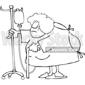 Clipart of a Cartoon Lineart Hospitalized Black Woman Walking Around with an Intravenous Drip Line - Royalty Free Vector Illustration © djart #1583964
