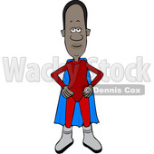 Clipart of a Cartoon Black Male Super Hero Standing with His Hands on His Hips - Royalty Free Vector Illustration © djart #1585512