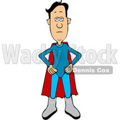 Clipart of a Cartoon White Male Super Hero Standing with His Hands on His Hips - Royalty Free Vector Illustration © djart #1585513