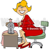 Clipart of a Cartoon Happy Seamstress Woman Sewing a Dress - Royalty Free Vector Illustration © djart #1585514