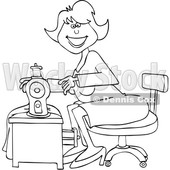 Clipart of a Cartoon Lineart Happy Seamstress Woman Sewing a Dress - Royalty Free Vector Illustration © djart #1585515
