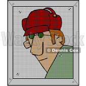 Clipart of a Cartoon Man Behind a Screen - Royalty Free Vector Illustration © djart #1585571