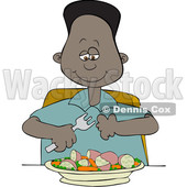 Clipart of a Cartoon Black Boy Eating a Veggie Meal of Carrots, Peas and Potatoes - Royalty Free Vector Illustration © djart #1585910