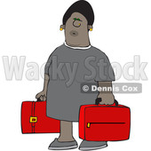 Clipart of a Cartoon Black Woman Carrying Suitcases - Royalty Free Vector Illustration © djart #1585972
