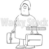 Clipart of a Cartoon Lineart Black Woman Carrying Suitcases - Royalty Free Vector Illustration © djart #1585973