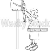 Clipart of a Lineart Black Boy Checking Mail from a Tall Mailbox - Royalty Free Vector Illustration © djart #1587348