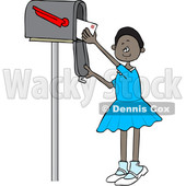 Clipart of a Cartoon Black Girl Checking the Mail from a Tall Box - Royalty Free Vector Illustration © djart #1590636