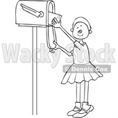 Clipart of a Cartoon Lineart Black Girl Checking the Mail from a Tall Box - Royalty Free Vector Illustration © djart #1590637